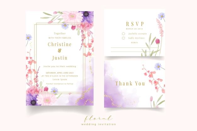 Приглашение на свадьбу с цветами акварельной розы, анемонов и гербер