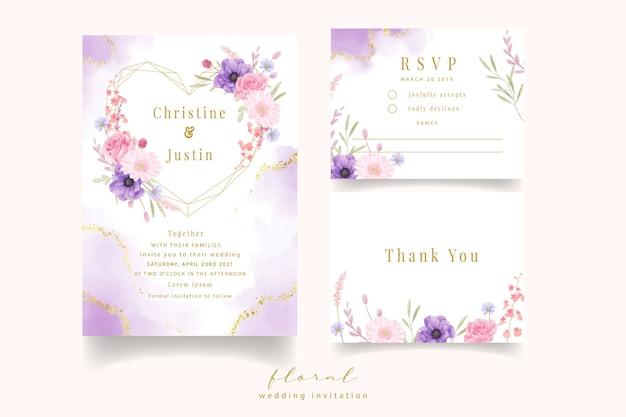 Invito a nozze con acquarello rosa, anemone e fiori di gerbera