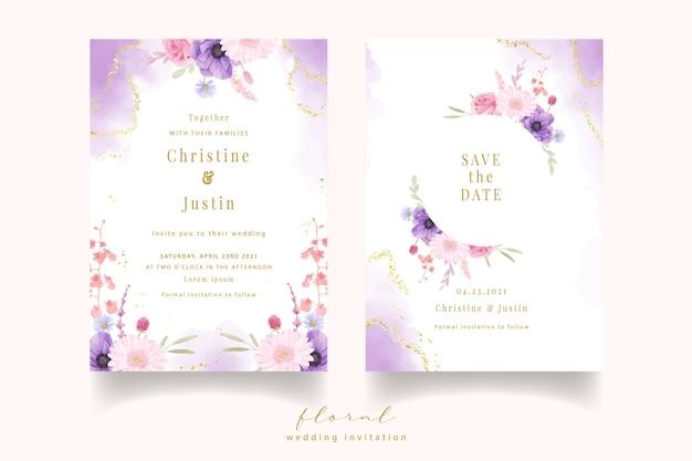 Wedding invitation with watercolor rose, anemone and gerbera flowers