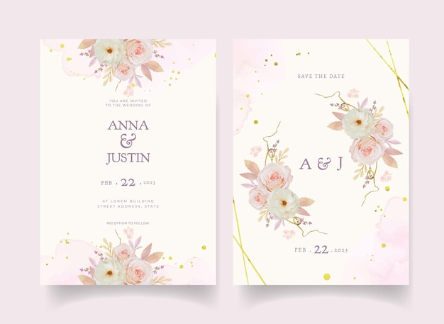 水彩のバラのダリアとアネモネの花の結婚式の招待状