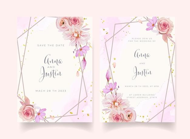 水彩のバラのダリアとラナンキュラスの花の結婚式の招待状