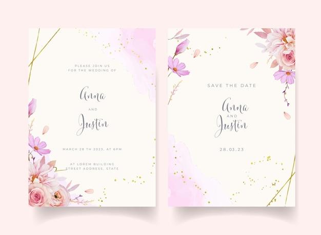 Приглашение на свадьбу с акварельной розой георгина и цветком лютик