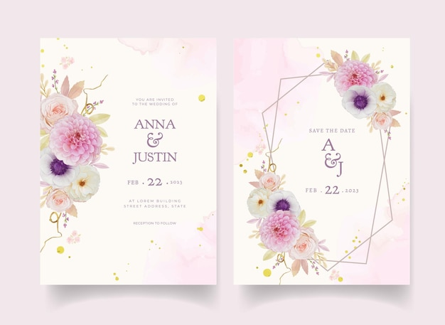 Wedding invitation with watercolor rose dahlia and anemone flower