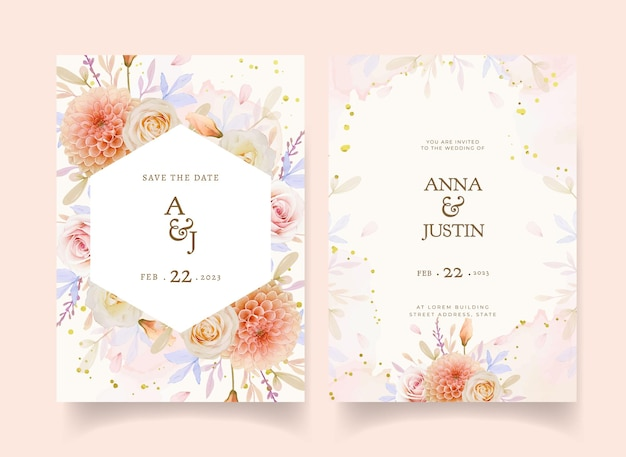 Wedding invitation with watercolor rose and dahlia flower