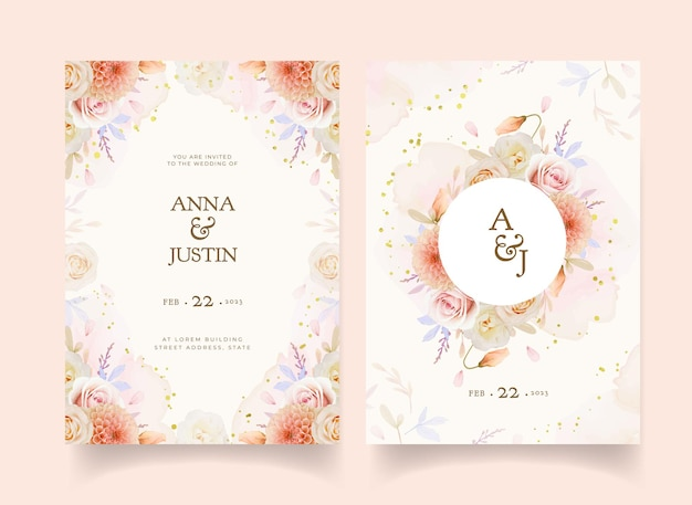 Invito a nozze con fiori di rosa e dalia dell'acquerello