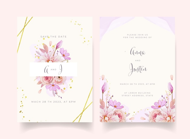 Wedding invitation with watercolor rose dahlia and ranunculus flower