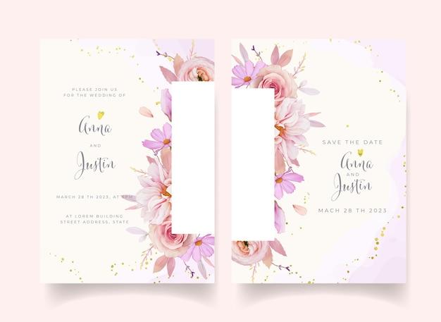 Invito a nozze con dalia rosa dell'acquerello e fiore di ranuncolo