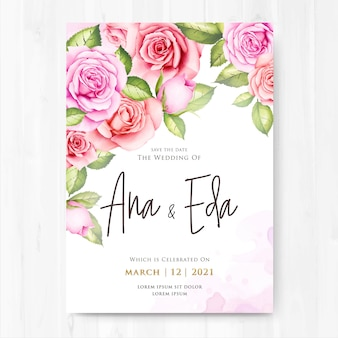 Wedding invitation with watercolor rose flowers