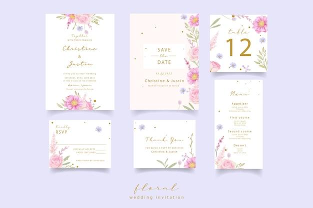 Свадебное приглашение с акварельными розами и цветами анемона