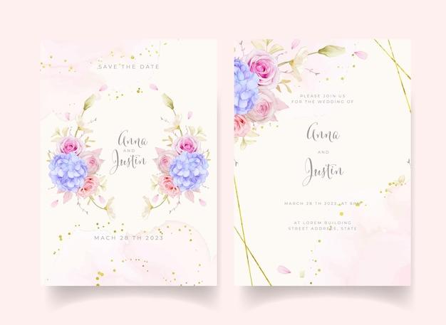 水彩のバラと青いアジサイの花の結婚式の招待状