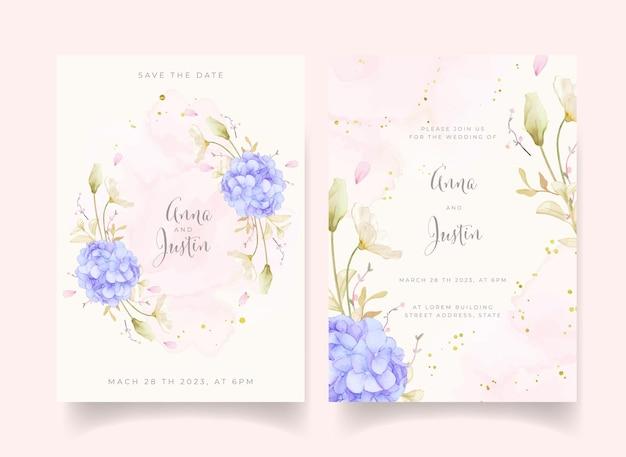 Приглашение на свадьбу с акварельными розами и синим цветком гортензии