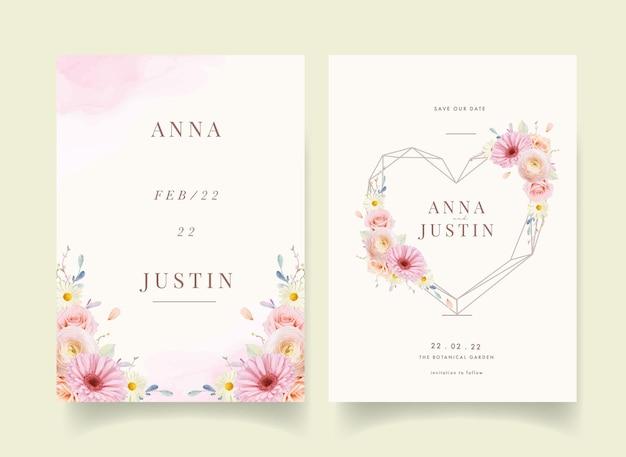 水彩のバラとガーベラの結婚式の招待状