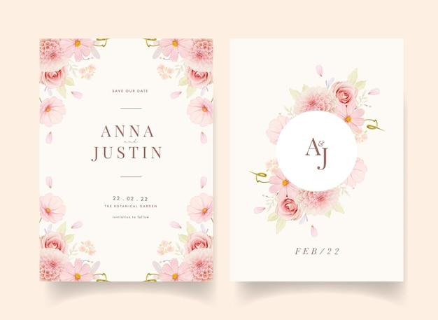 수채화 장미와 핑크 달리아 웨딩 초대장