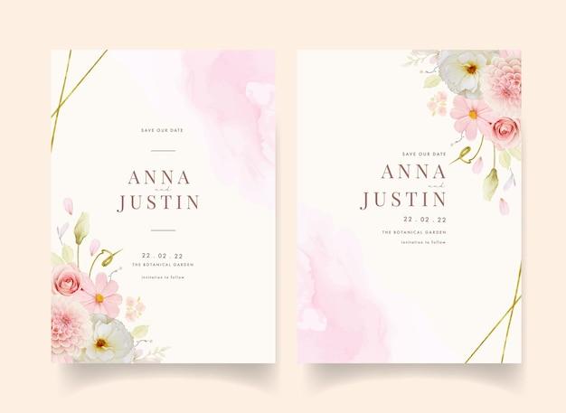 水彩のバラとピンクのダリアの結婚式の招待状