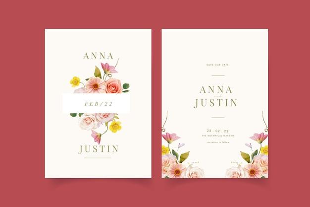 Приглашение на свадьбу с акварельными розами и циннией