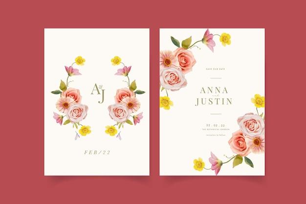 수채화 장미와 백일초 웨딩 초대장
