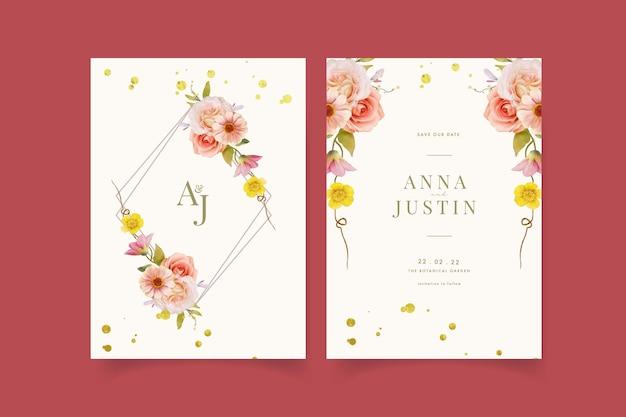 水彩のバラと百日草の結婚式の招待状