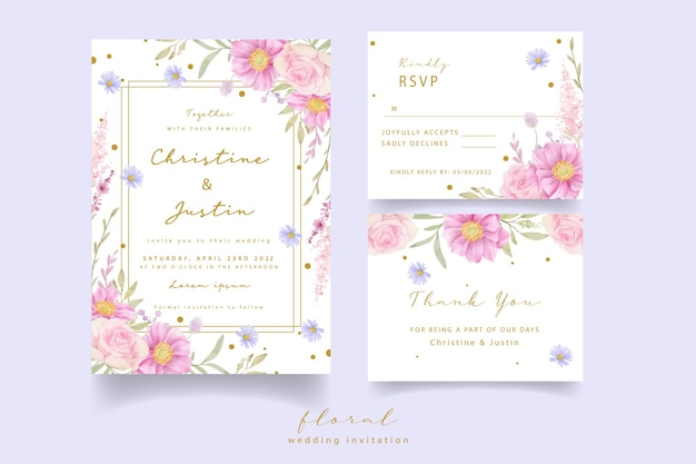 Wedding invitation with watercolor roses and anemone flowers