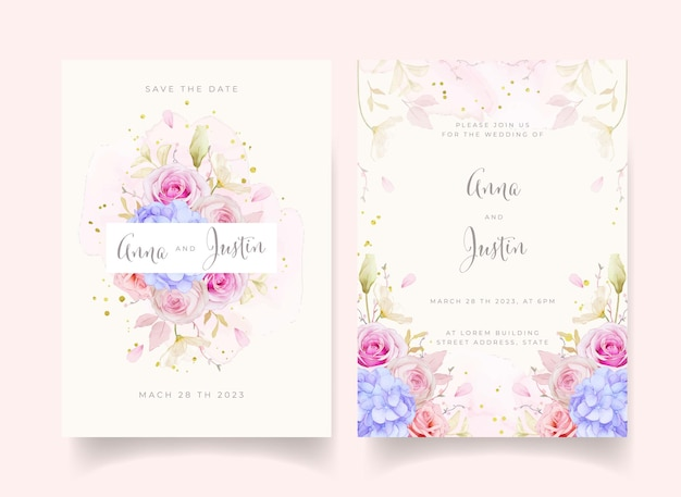 Wedding invitation with watercolor roses and blue hydrangea flower