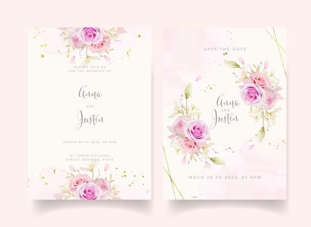 Invito a nozze con rose dell'acquerello e fiore di ortensie blu