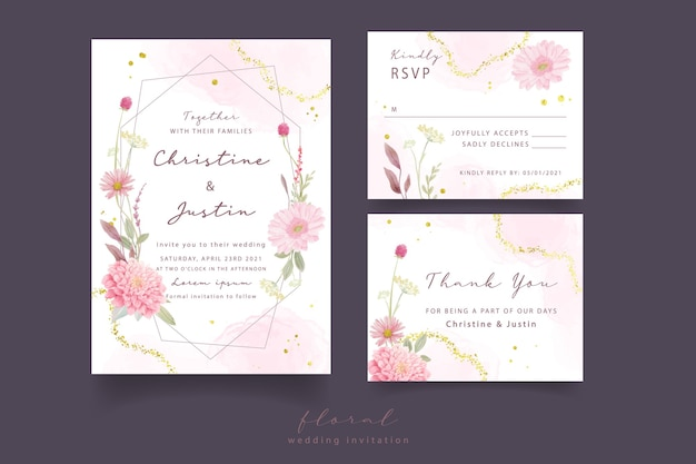 Wedding invitation with watercolor roses, dahlia and gerbera flowers