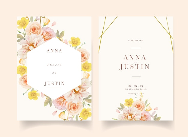 Wedding invitation with watercolor roses and dahlia