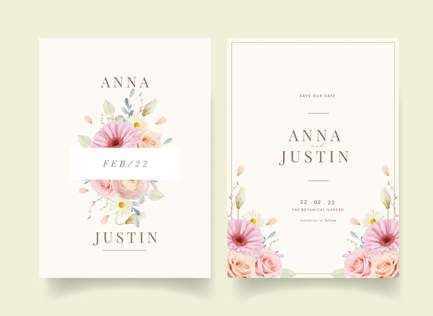 Wedding invitation with watercolor roses and gerbera