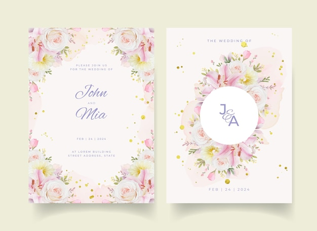 Invito a nozze con giglio di rose dell'acquerello e fiore della dalia