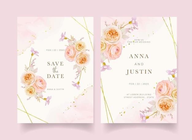 Приглашение на свадьбу с акварельными розами, пионами и цветком лютик