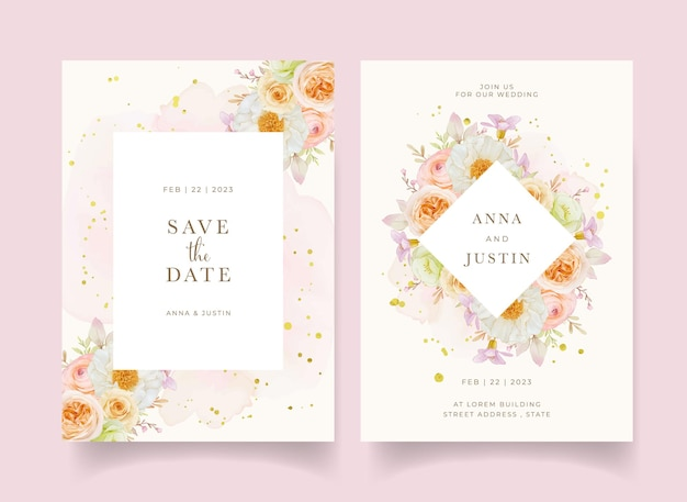 Wedding invitation with watercolor roses peony and ranunculus flower