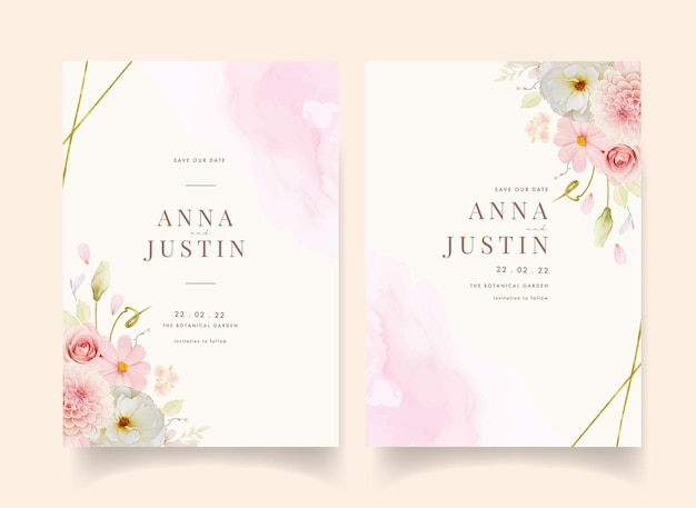 Wedding invitation with watercolor roses and pink dahlia