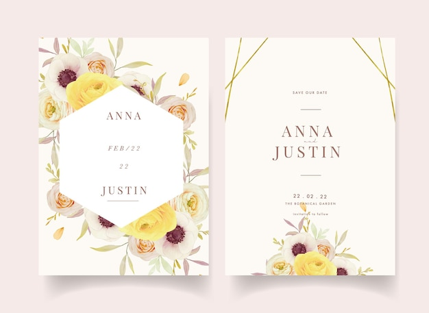 Приглашение на свадьбу с акварельными розами лютик и цветы анемона