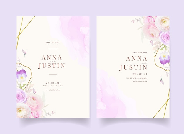 Приглашение на свадьбу с акварельными розами лютик и анютины глазки
