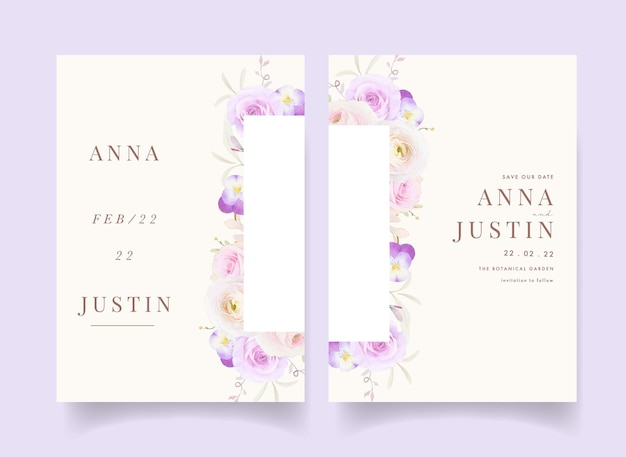水彩のバラのラナンキュラスとパンジーの花の結婚式の招待状