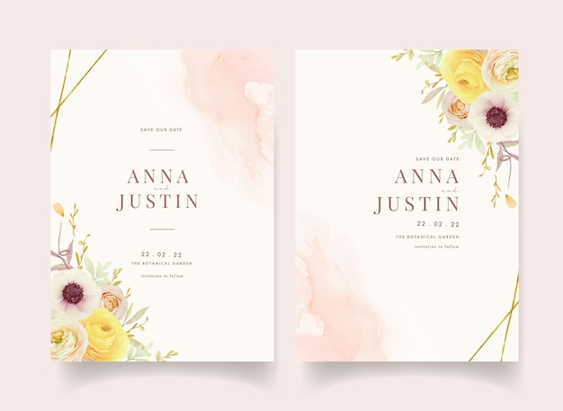 Wedding invitation with watercolor roses ranunculus and anemone flowers