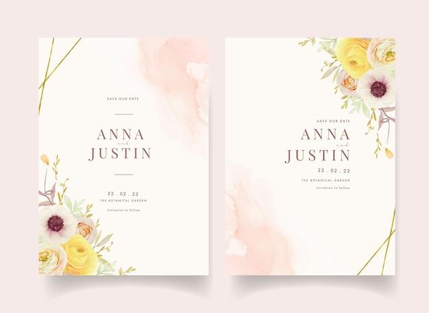 Invito a nozze con ranuncolo di rose dell'acquerello e fiori di anemone