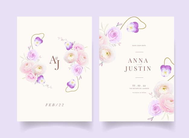 Wedding invitation with watercolor roses ranunculus and pansy flower