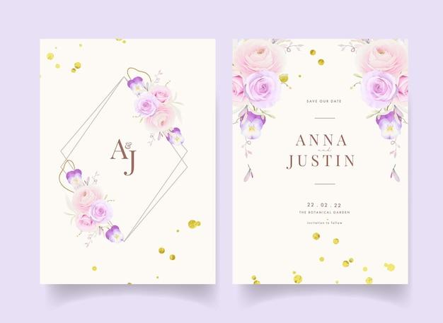 Invito a nozze con ranuncolo di rose dell'acquerello e fiore viola del pensiero