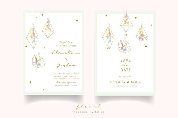 水彩のバラ、チューリップ、マツムシソウの花の結婚式の招待状