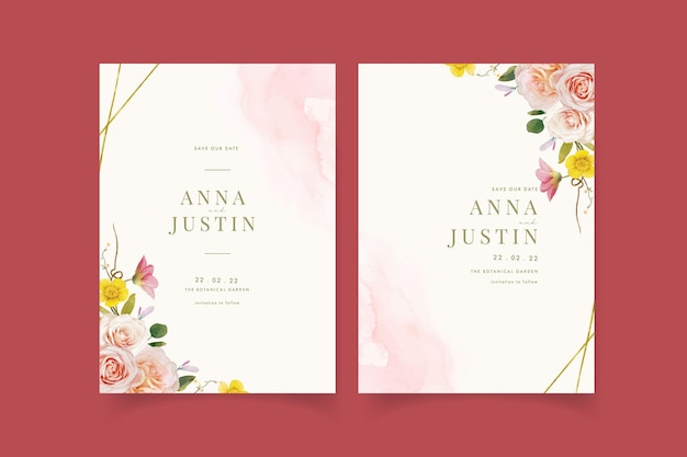 Wedding invitation with watercolor roses and zinnia