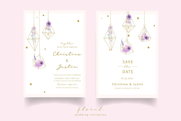 Wedding invitation with watercolor roses