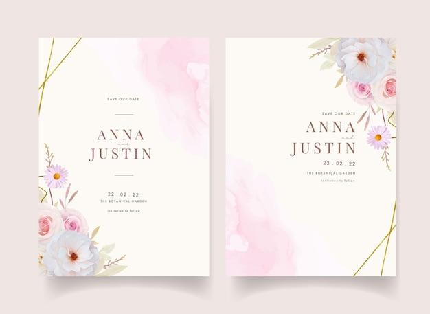 Приглашение на свадьбу с акварельными розами