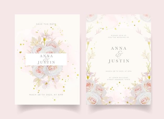 Invito a nozze con rose dell'acquerello