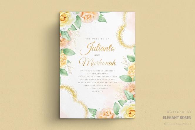 水彩のバラと結婚式の招待状
