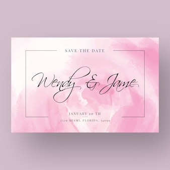 Wedding invitation with watercolor stains