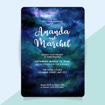 Wedding invitation with watercolor starry night