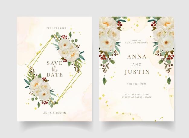 Приглашение на свадьбу с акварельной белой розой и цветком пиона