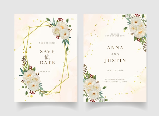 Wedding invitation with watercolor white rose and peony flower