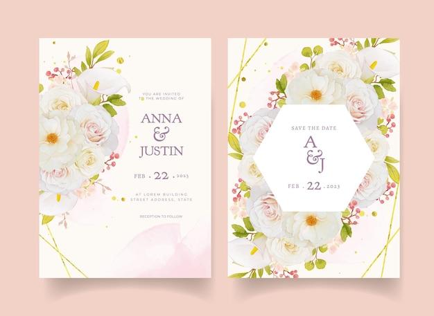Приглашение на свадьбу с акварельными белыми розами и лилией каллы