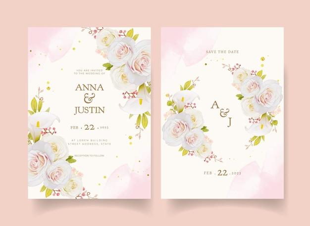 水彩の白いバラとオランダカイウの結婚式の招待状